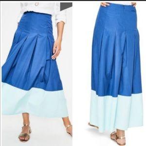 Boden Beatrice Flare Skirt Blue Midi Colorblock